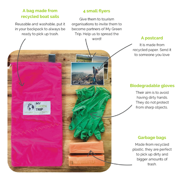 A bag made from recycled boat sails Reusable and washable, put it in your backpack to always be ready to pick up trash.